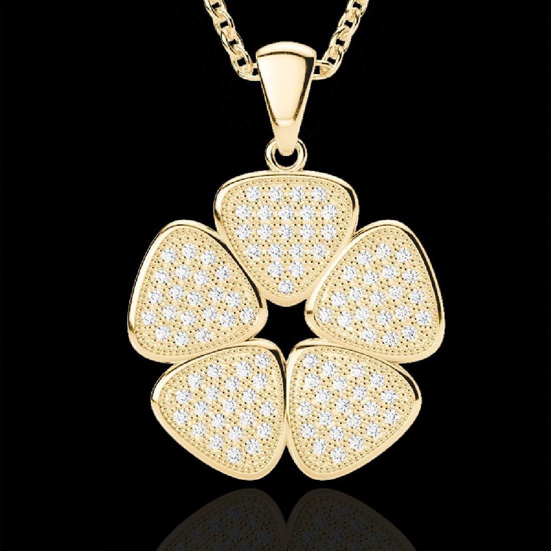 0.80 CTW Micro Pave VS/SI Diamond Designer Necklace 14K - 2