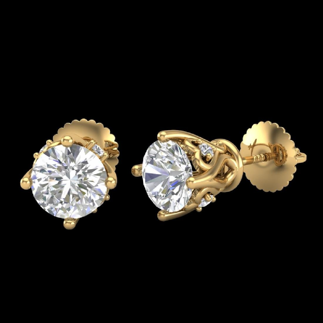 1.26 CTW VS/SI Diamond Solitaire Art Deco Stud Earrings - 2