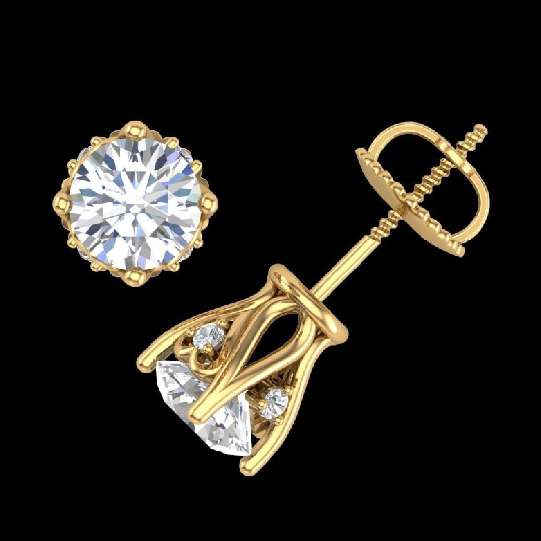 1.26 CTW VS/SI Diamond Solitaire Art Deco Stud Earrings - 3