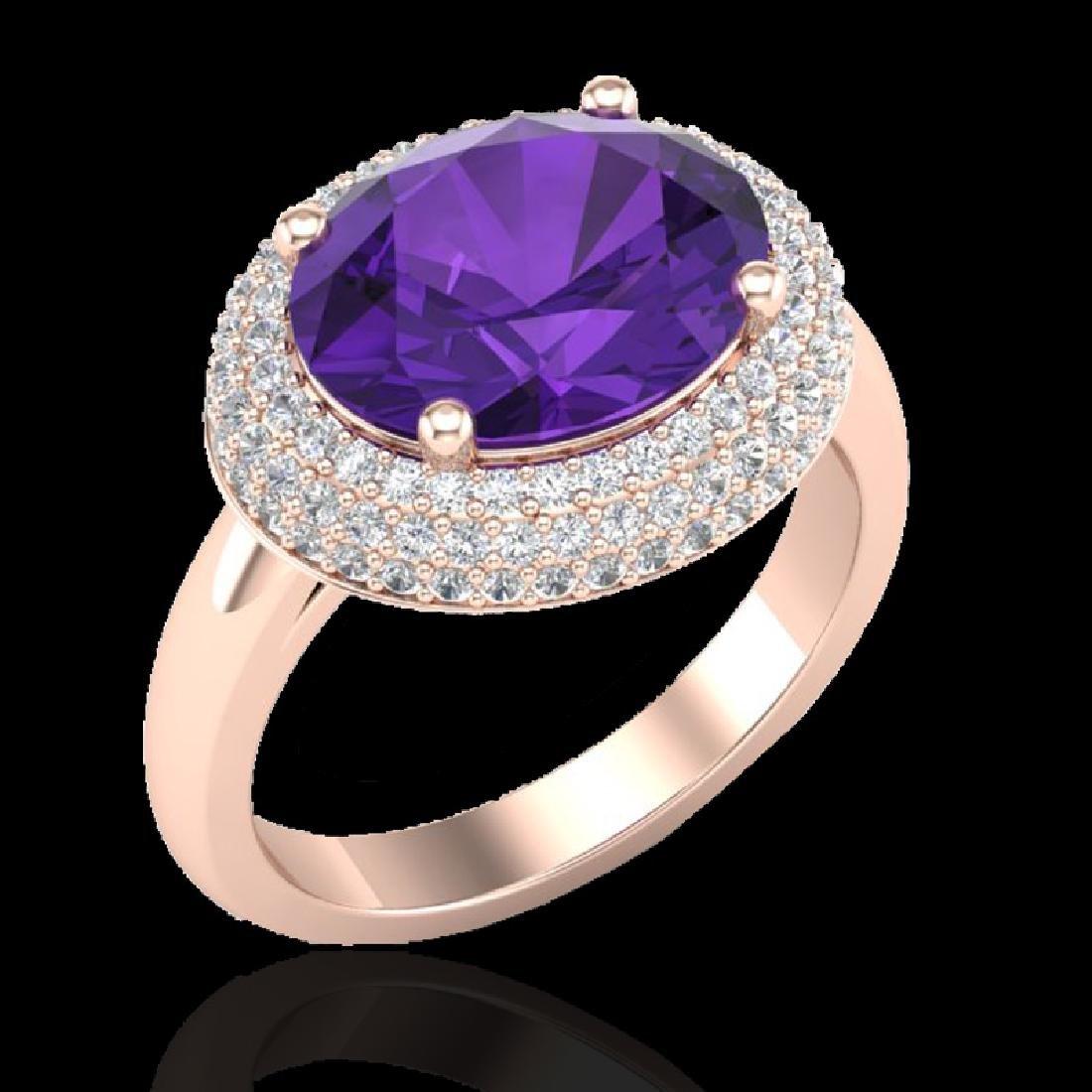 4 CTW Amethyst & Micro Pave VS/SI Diamond Ring 14K Rose