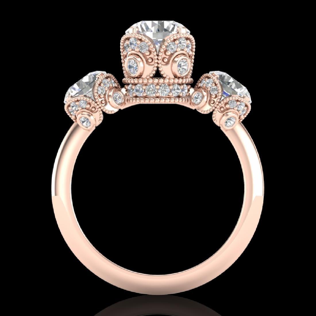 3 CTW VS/SI Diamond Solitaire Art Deco 3 Stone Ring