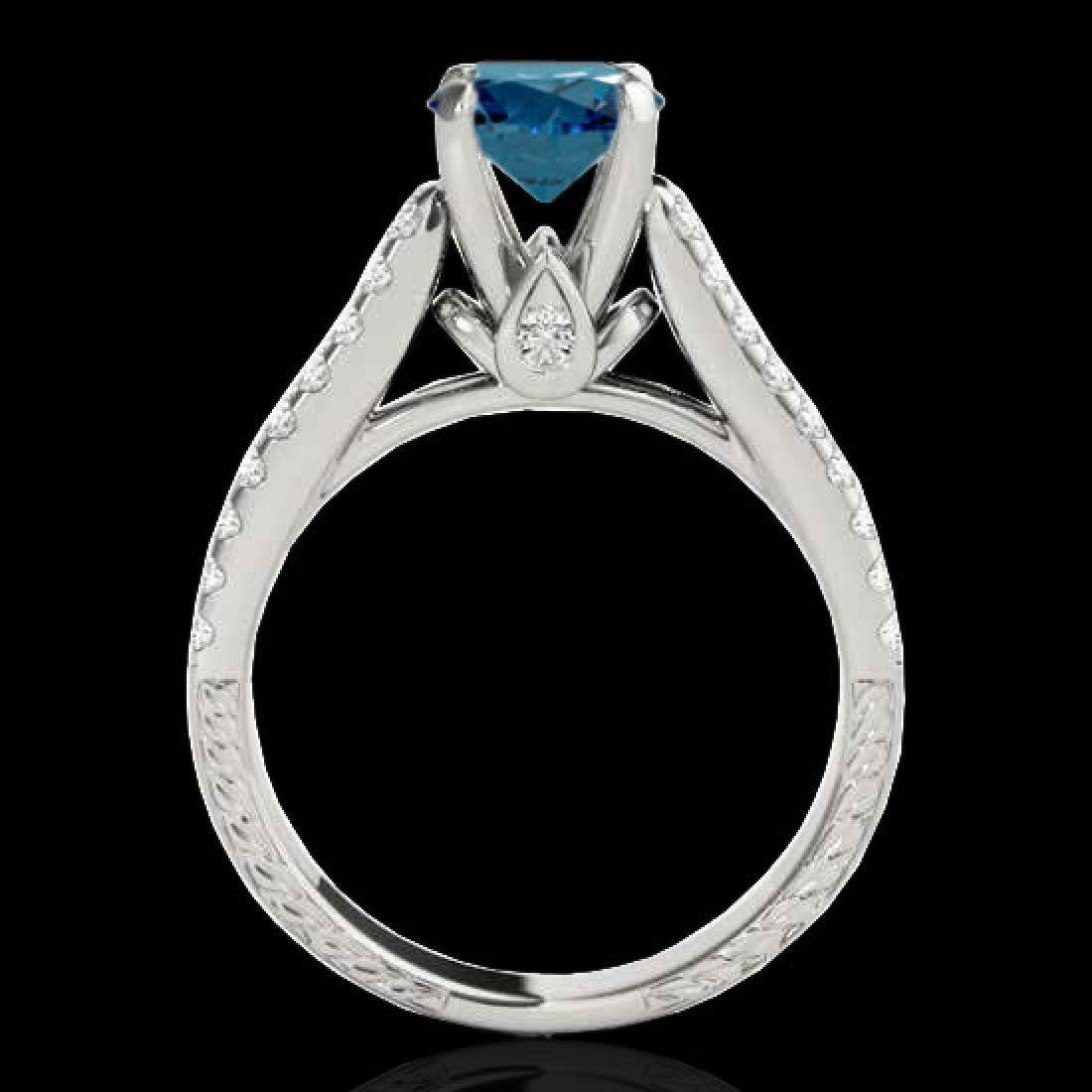 1.61 CTW SI Certified Fancy Blue Diamond Pave Ring 10K - 2
