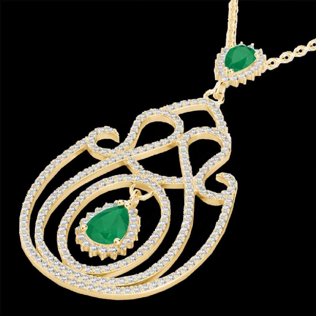 3.20 CTW Emerald & Micro Pave VS/SI Diamond Heart - 2