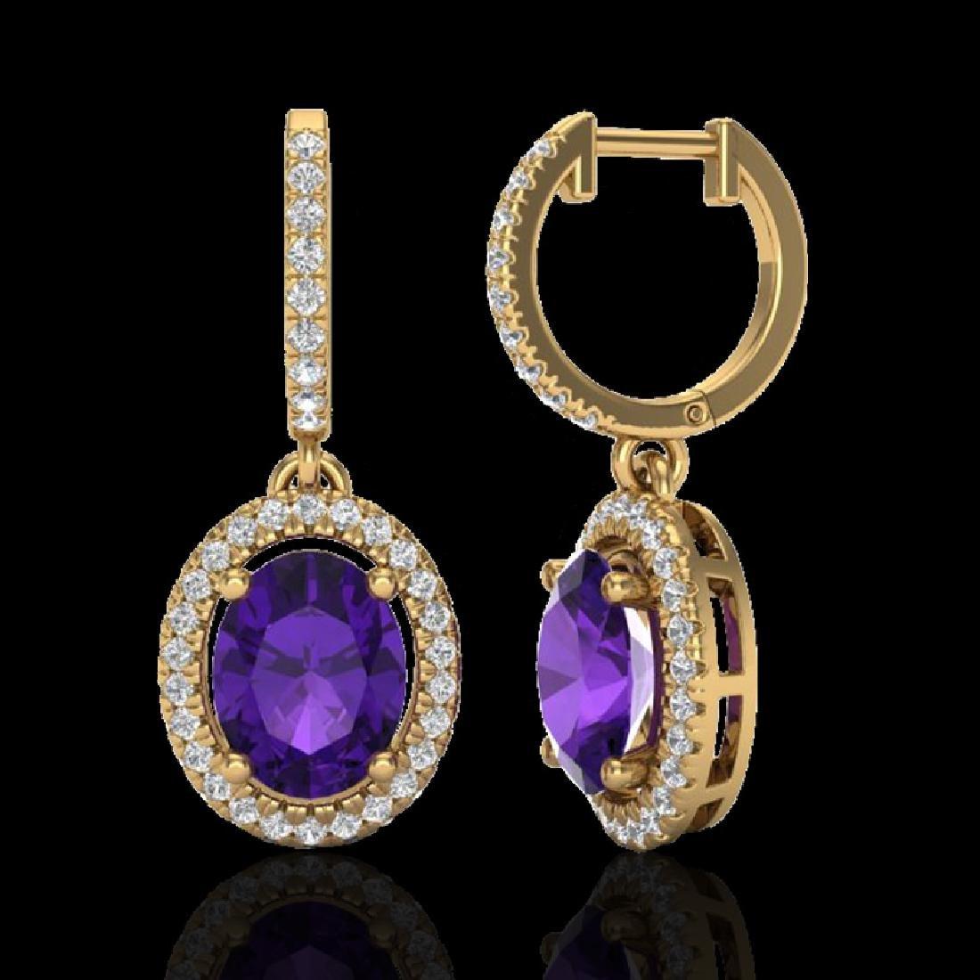 3.50 CTW Amethyst & Micro Pave VS/SI Diamond Earrings - 2