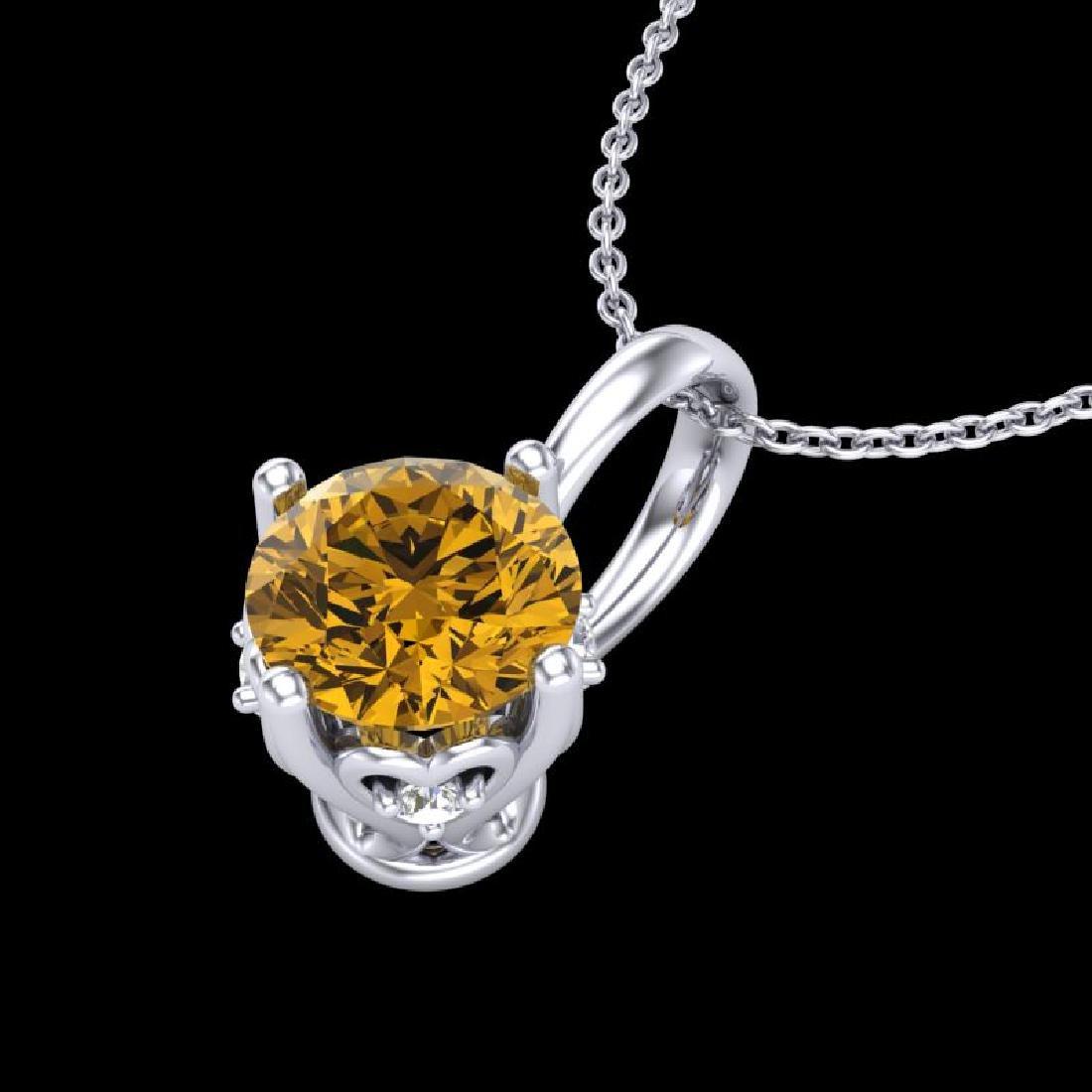 0.62 CTW Intense Fancy Yellow Diamond Art Deco Stud - 2