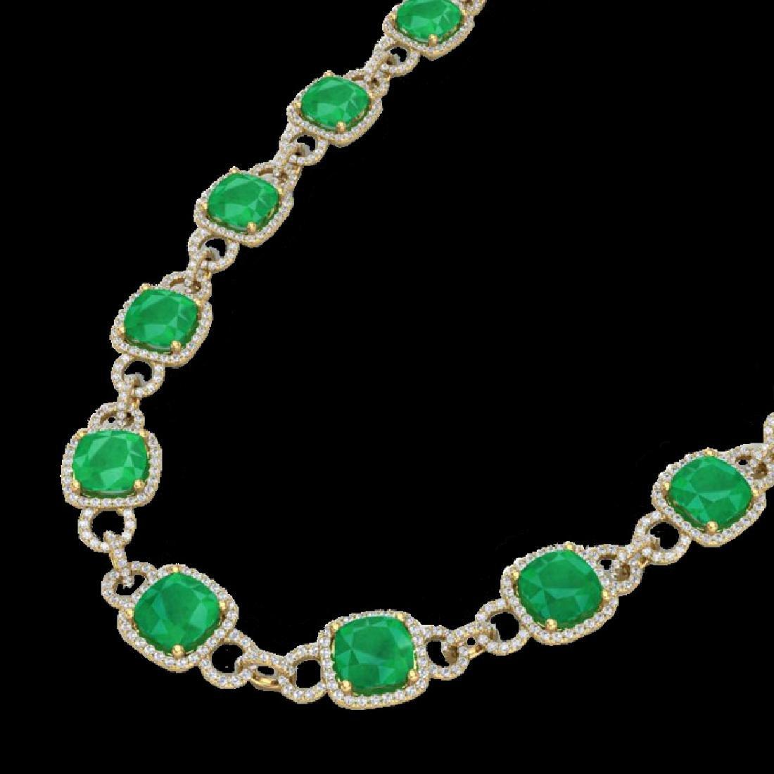 56 CTW Emerald & Micro VS/SI Diamond Eternity Necklace