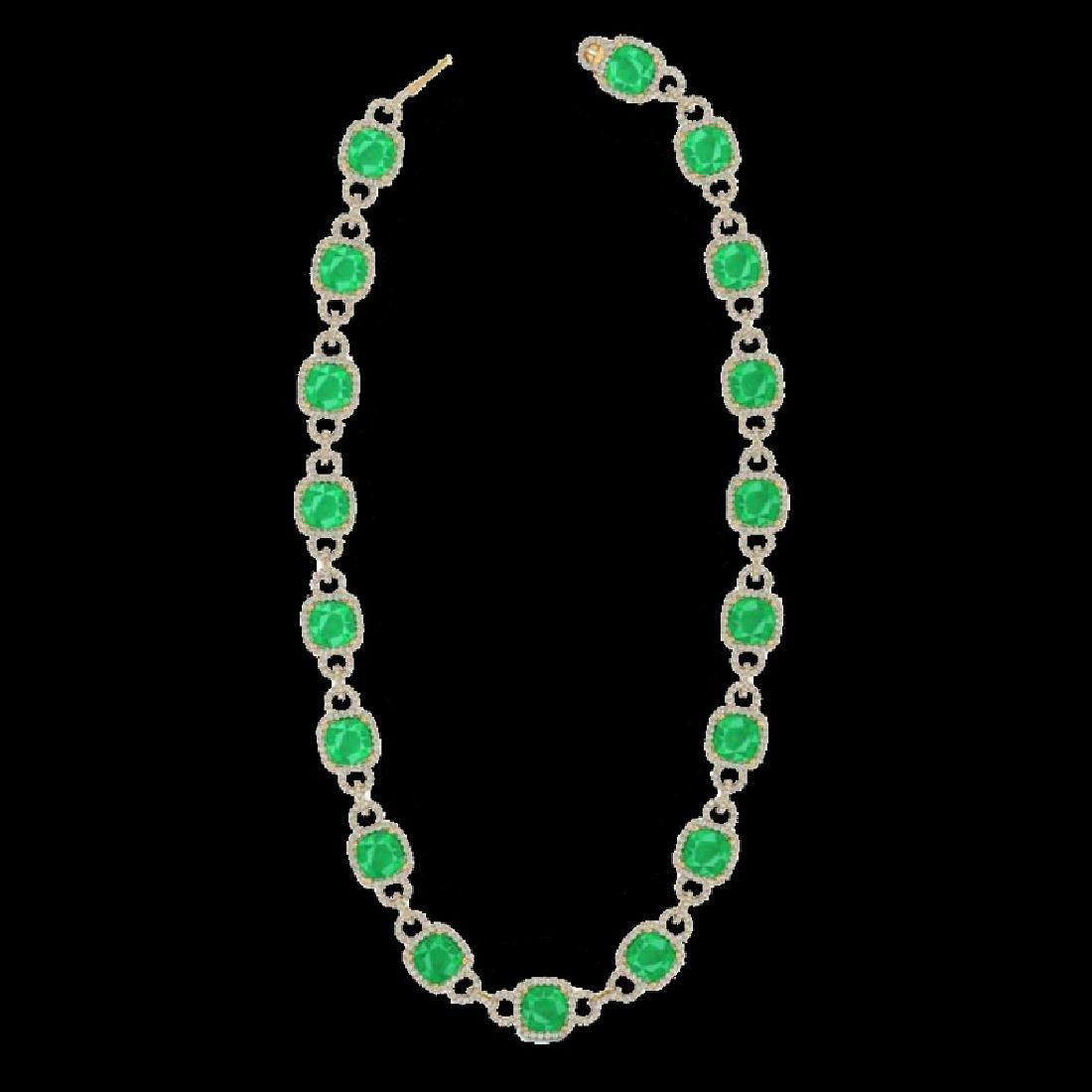 56 CTW Emerald & Micro VS/SI Diamond Eternity Necklace - 2