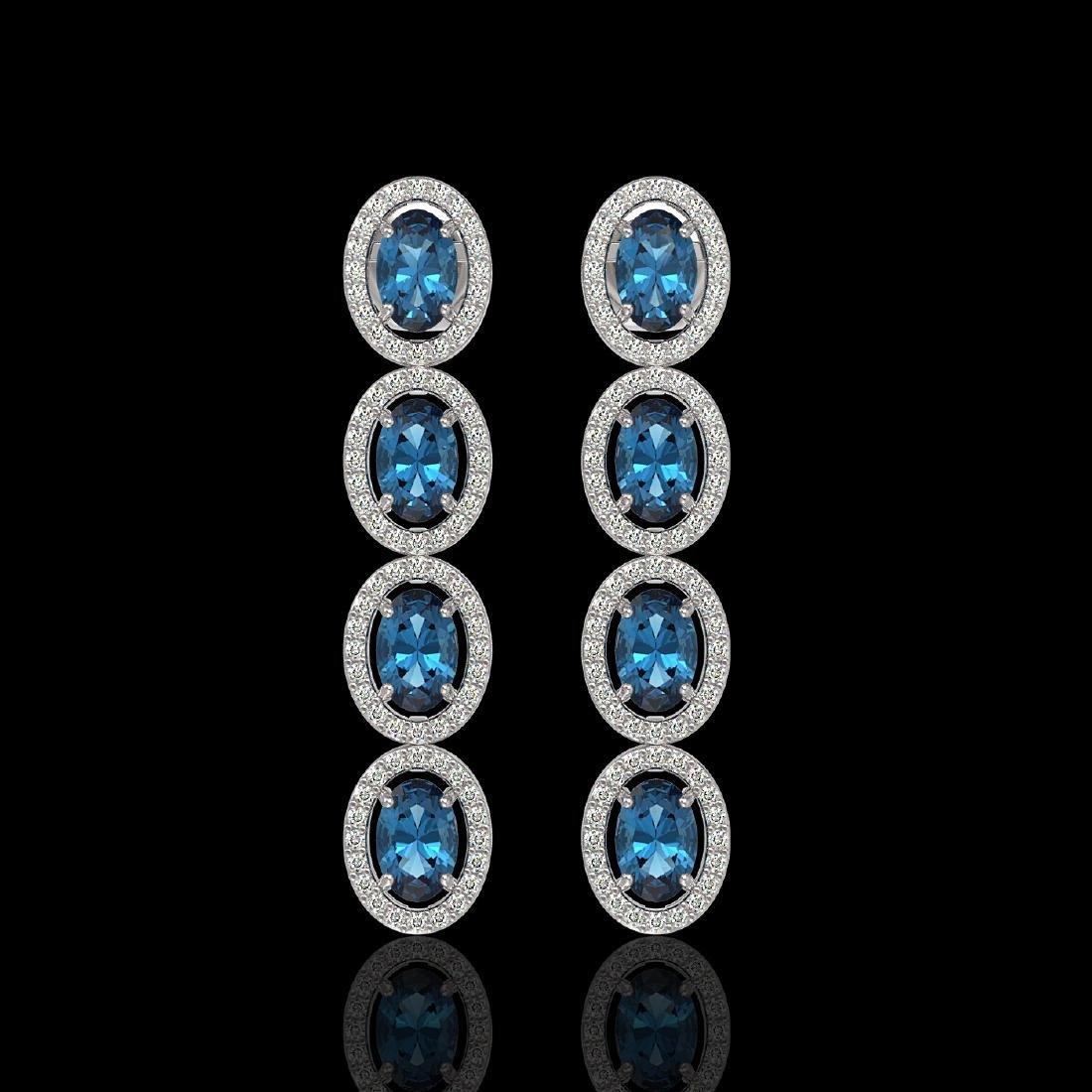 6.28 CTW London Topaz & Diamond Halo Earrings 10K White