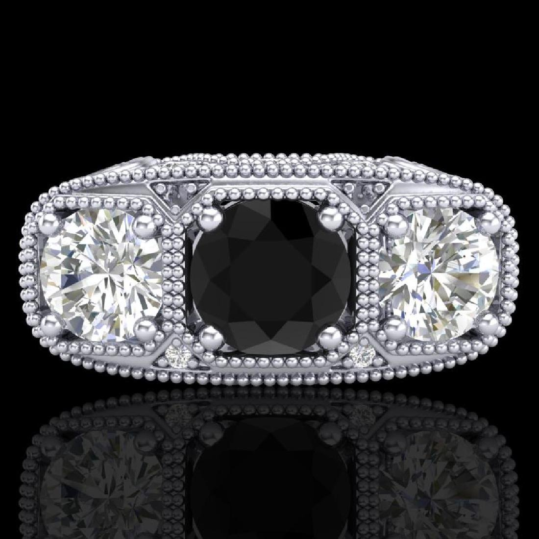 2.51 CTW Fancy Black Diamond Solitaire Art Deco 3 Stone - 2