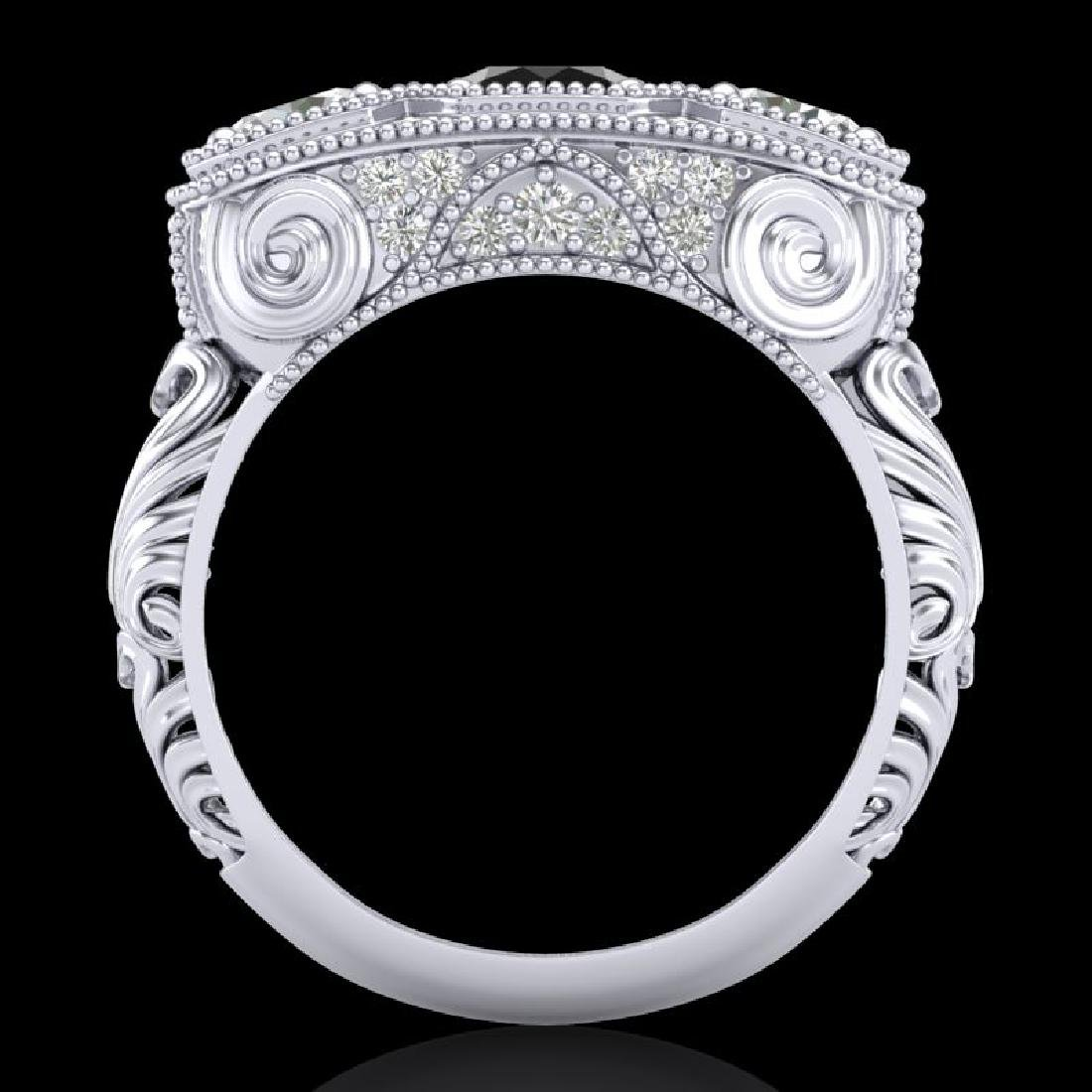 2.51 CTW Fancy Black Diamond Solitaire Art Deco 3 Stone - 3