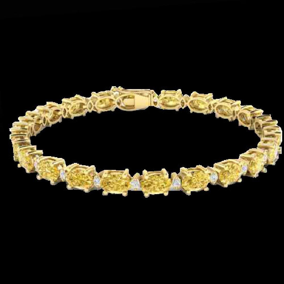 12 CTW Citrine & VS/SI Diamond Eternity Bracelet 10K - 2