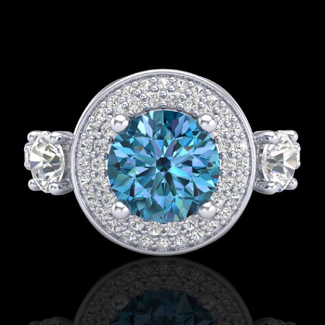 2.05 CTW Intense Blue Diamond Solitaire Art Deco 3 - 2