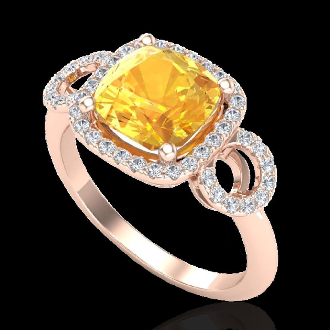 3.75 CTW Citrine & Micro VS/SI Diamond Ring 14K Rose - 2