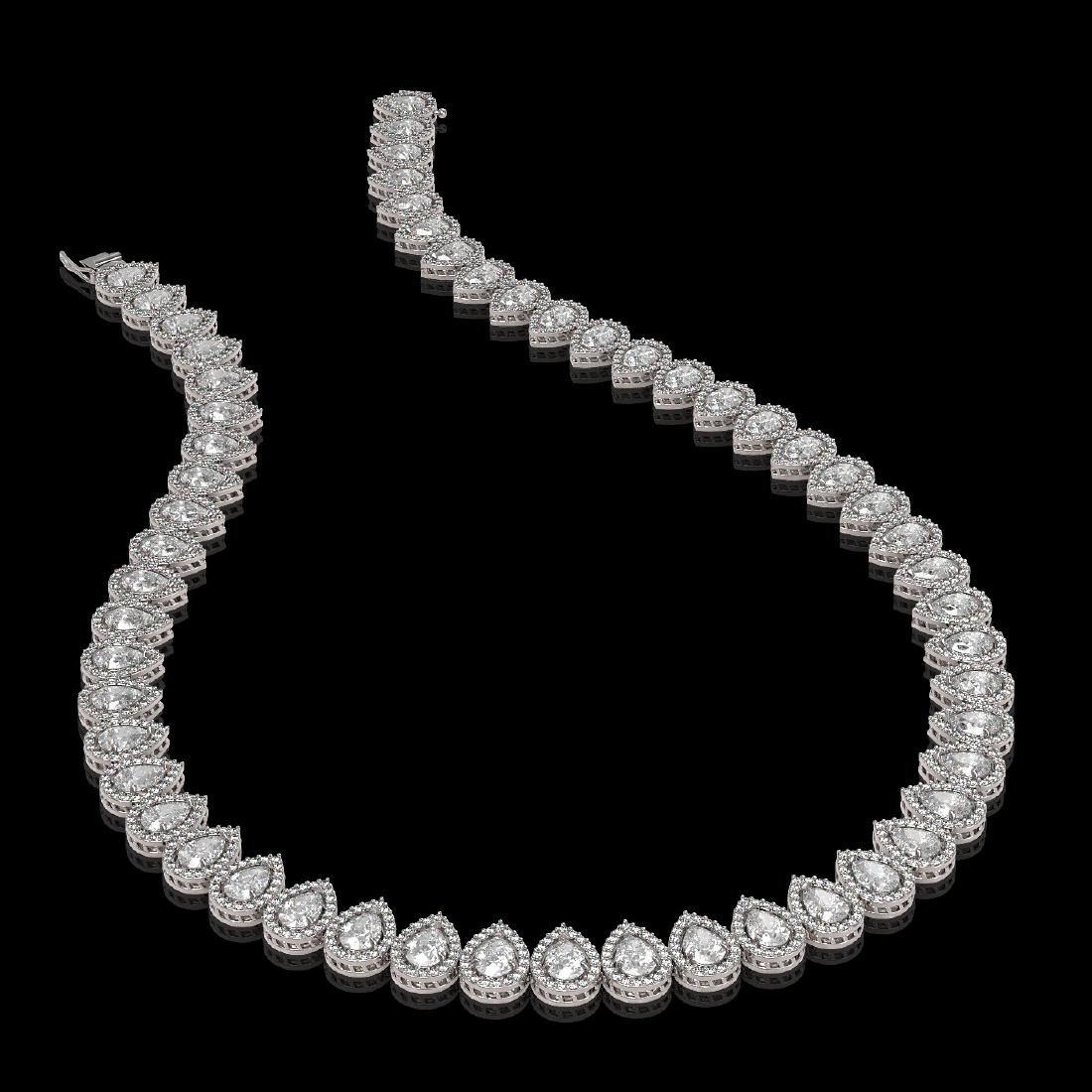 34.83 CTW Pear Diamond Designer Necklace 18K White Gold - 2