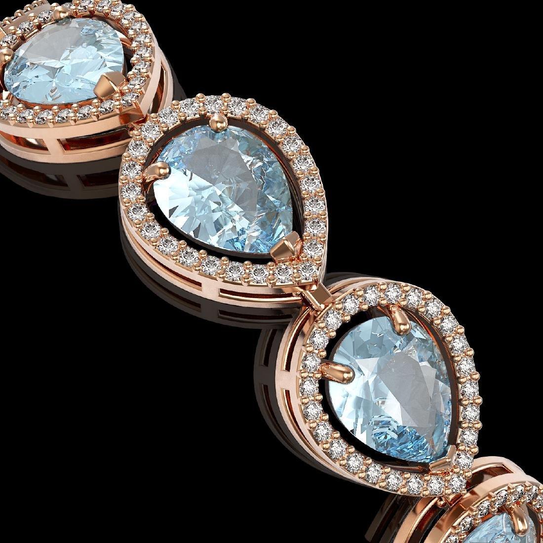 19.55 CTW Sky Topaz & Diamond Halo Bracelet 10K Rose - 3