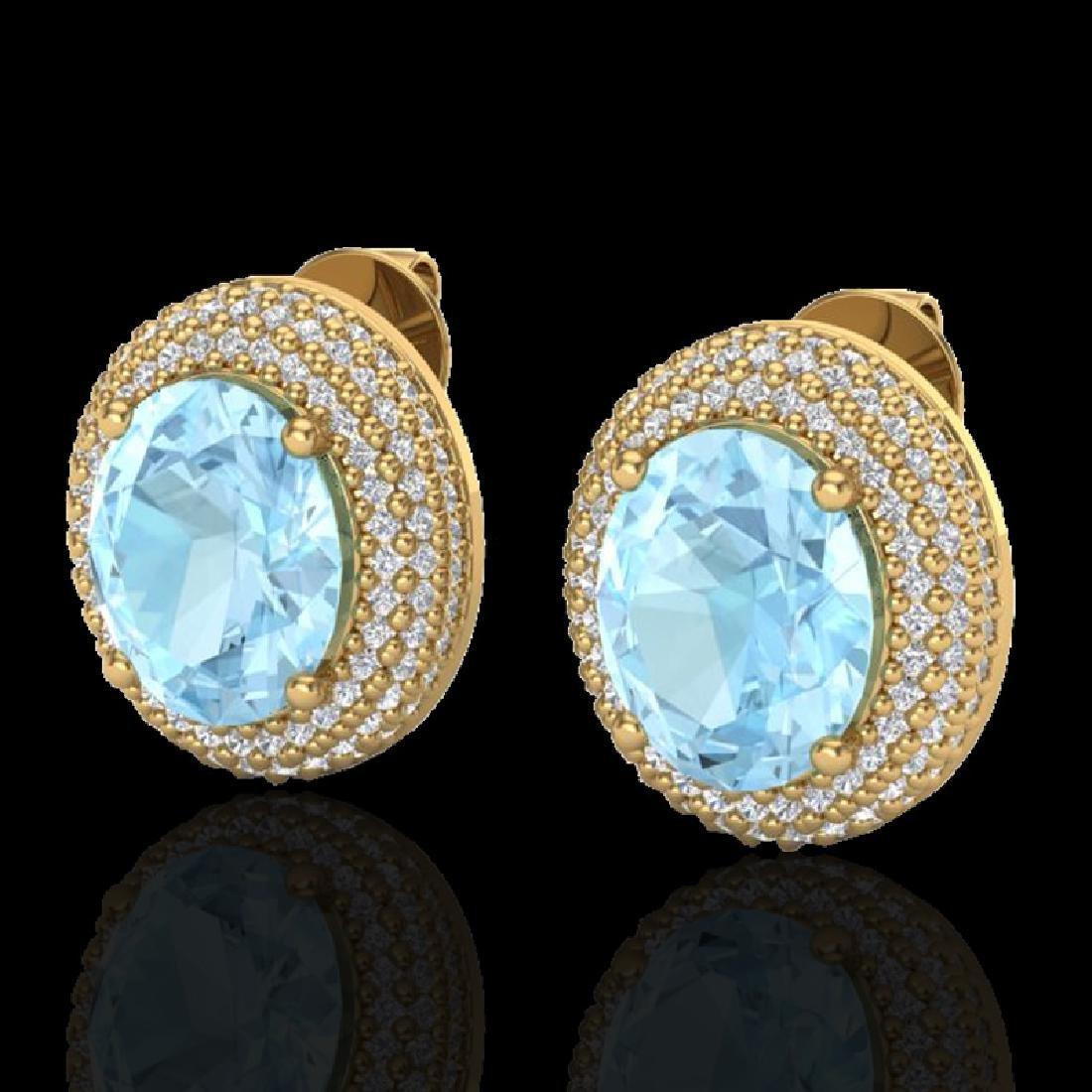 8 CTW Aquamarine & Micro Pave VS/SI Diamond Earrings