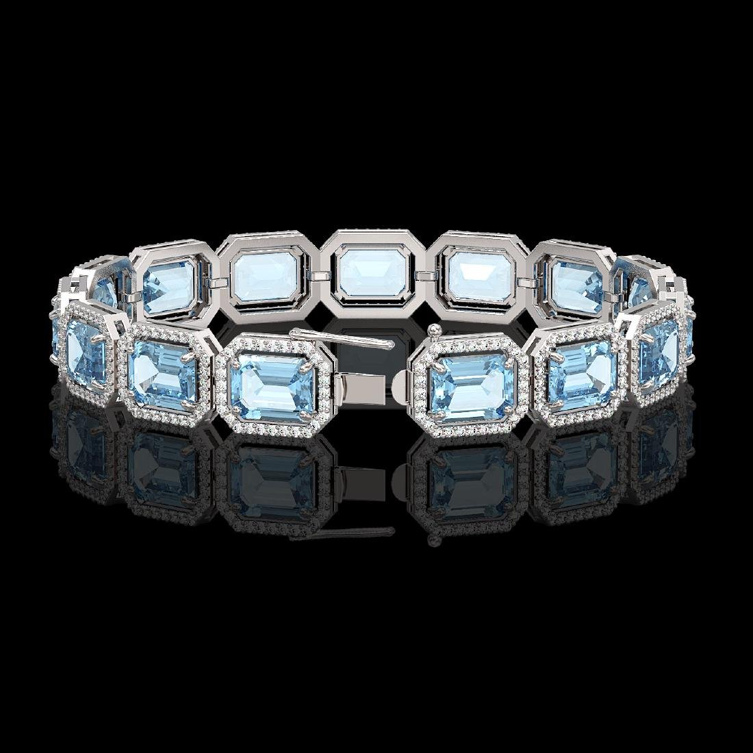 36.81 CTW Aquamarine & Diamond Halo Bracelet 10K White - 2