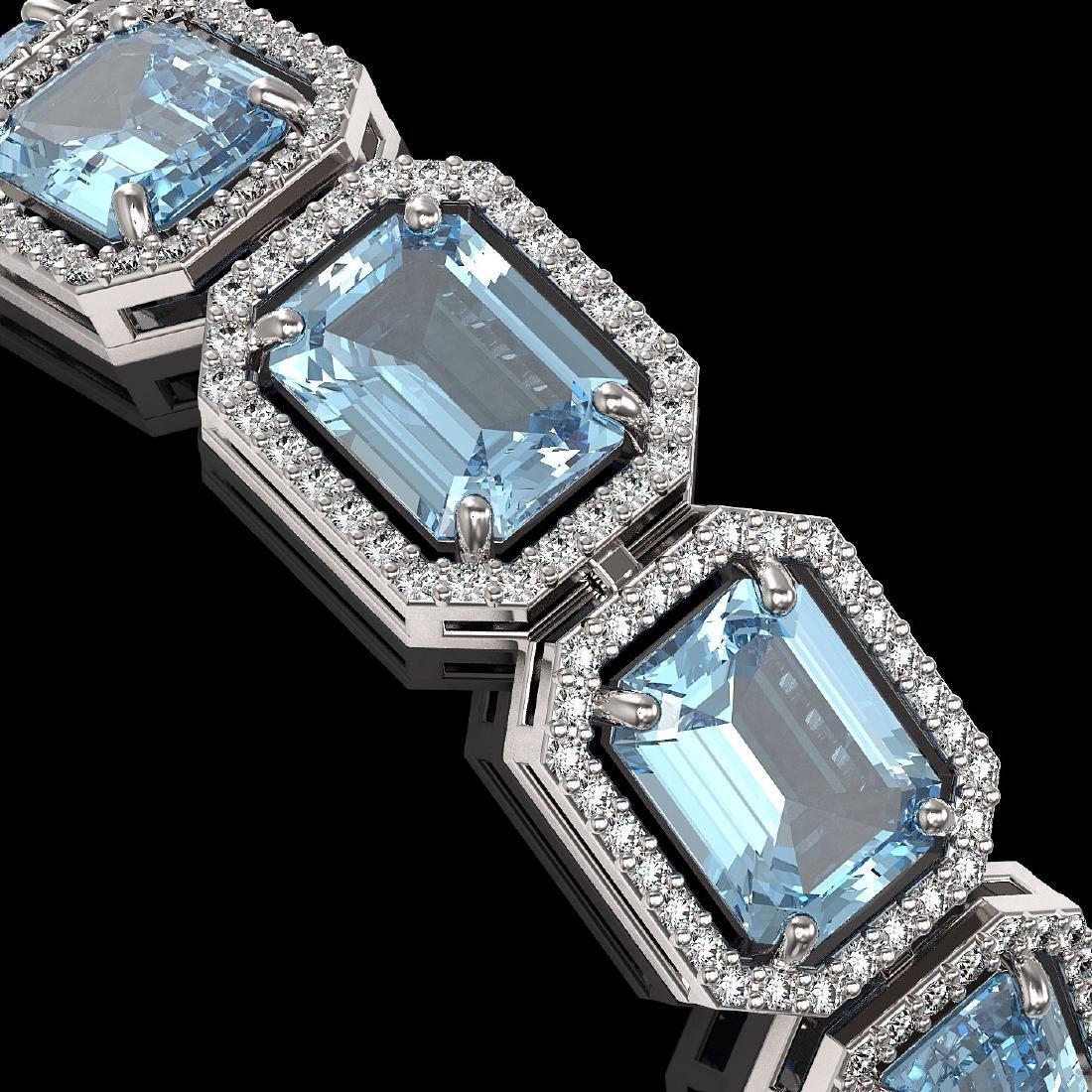 36.81 CTW Aquamarine & Diamond Halo Bracelet 10K White - 3