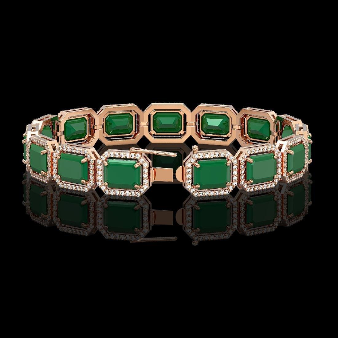 38.61 CTW Emerald & Diamond Halo Bracelet 10K Rose Gold - 2