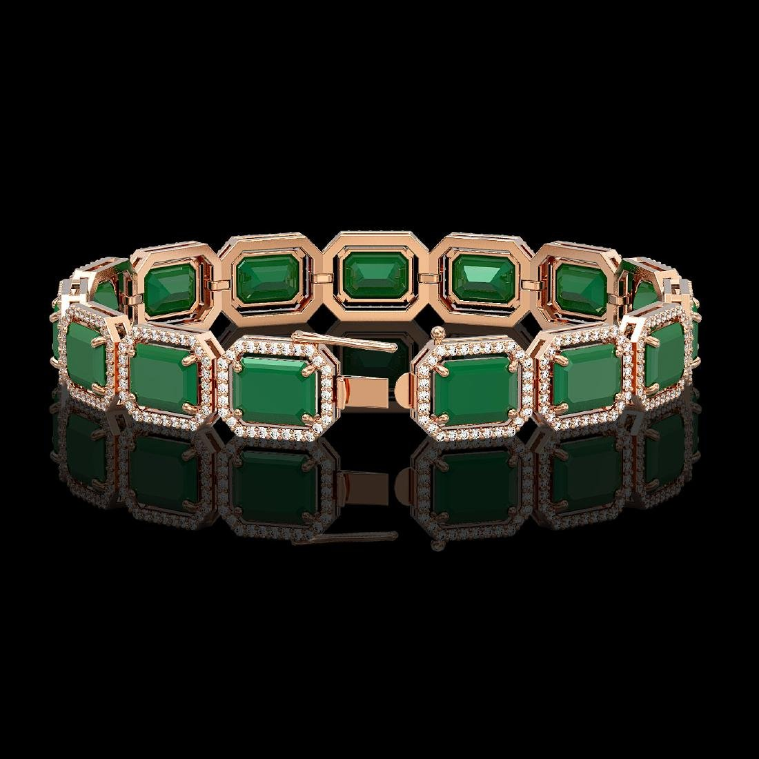38.61 CTW Emerald & Diamond Halo Bracelet 10K Rose Gold - 2