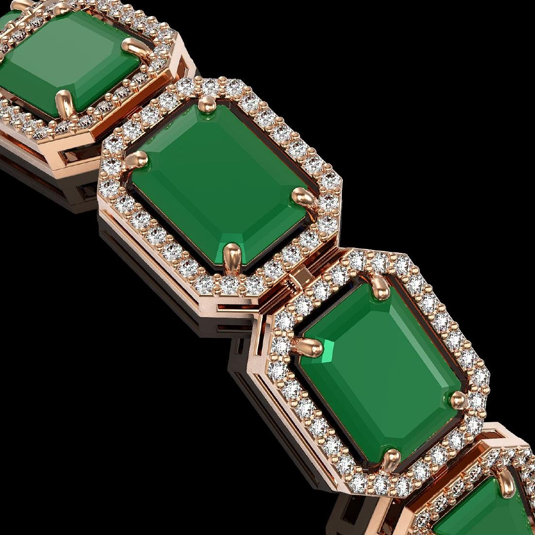 38.61 CTW Emerald & Diamond Halo Bracelet 10K Rose Gold - 3