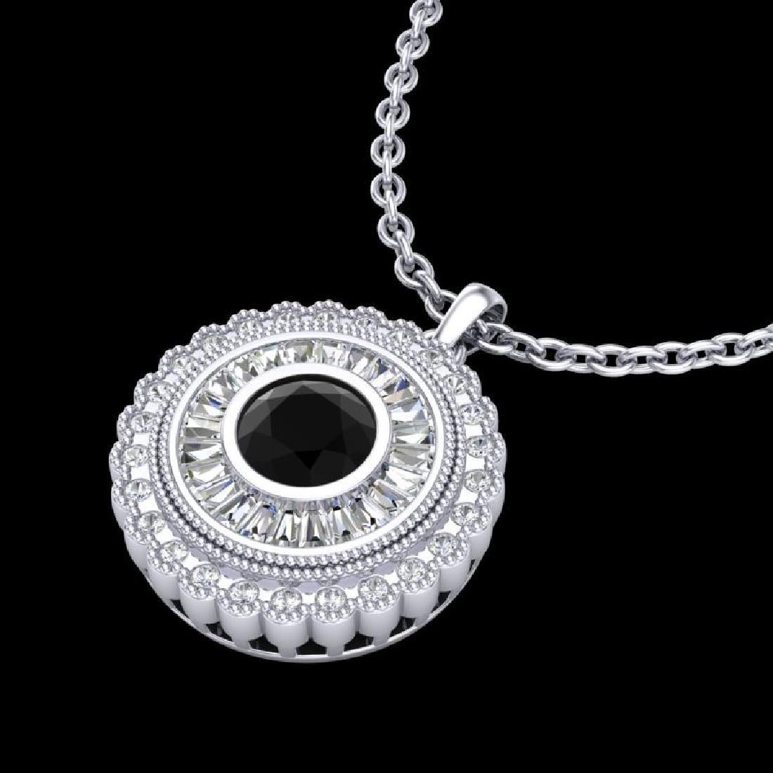 2.11 CTW Fancy Black Diamond Solitaire Art Deco Stud - 2