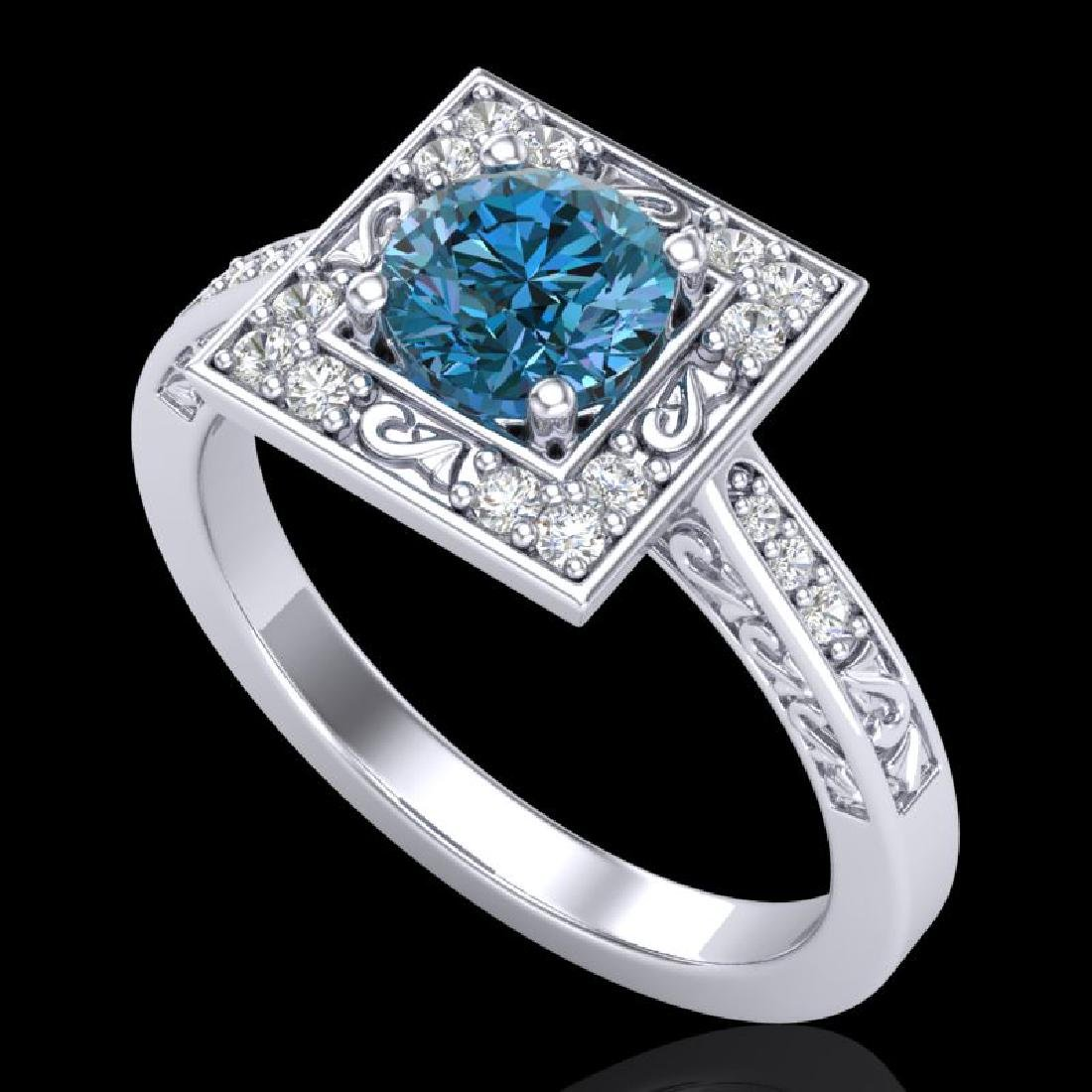 1.1 CTW Intense Blue Diamond Solitaire Engagement Art