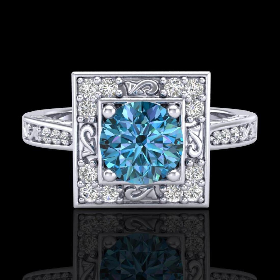 1.1 CTW Intense Blue Diamond Solitaire Engagement Art - 2