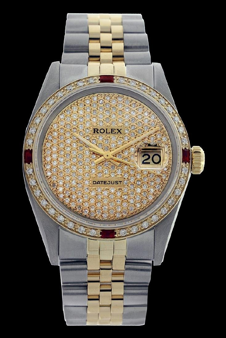 Rolex Ladies Two Tone 14K Gold/SS, Diam Pave Dial &