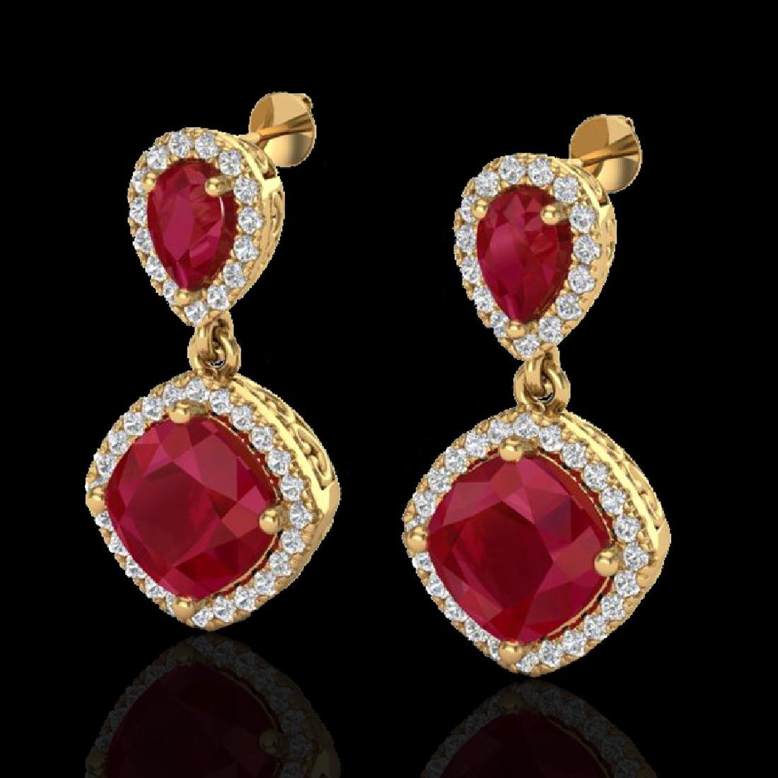 7 CTW Ruby & Micro Pave VS/SI Diamond Earrings Designer