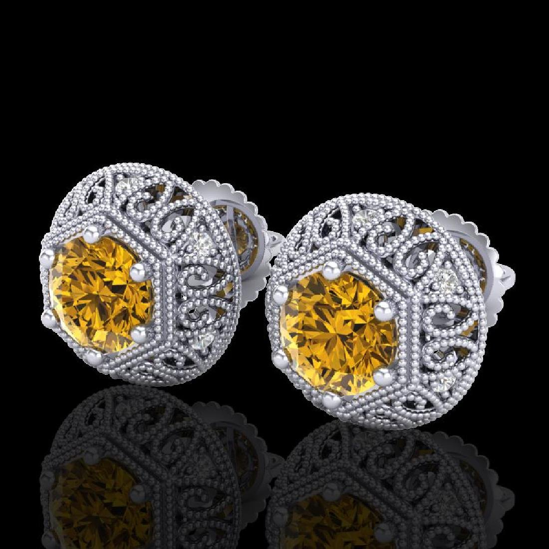 1.31 CTW Intense Fancy Yellow Diamond Art Deco Stud