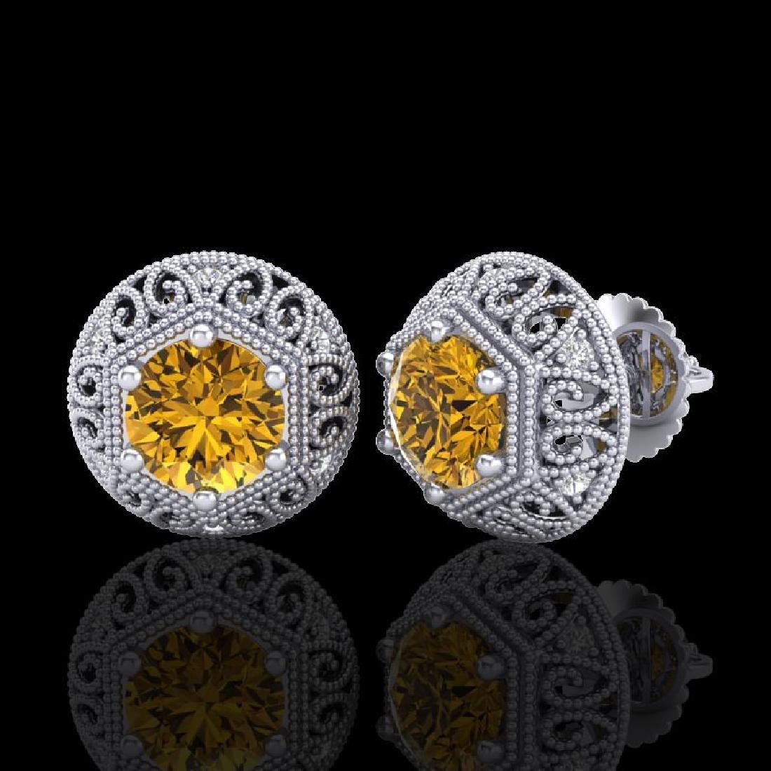 1.31 CTW Intense Fancy Yellow Diamond Art Deco Stud - 2