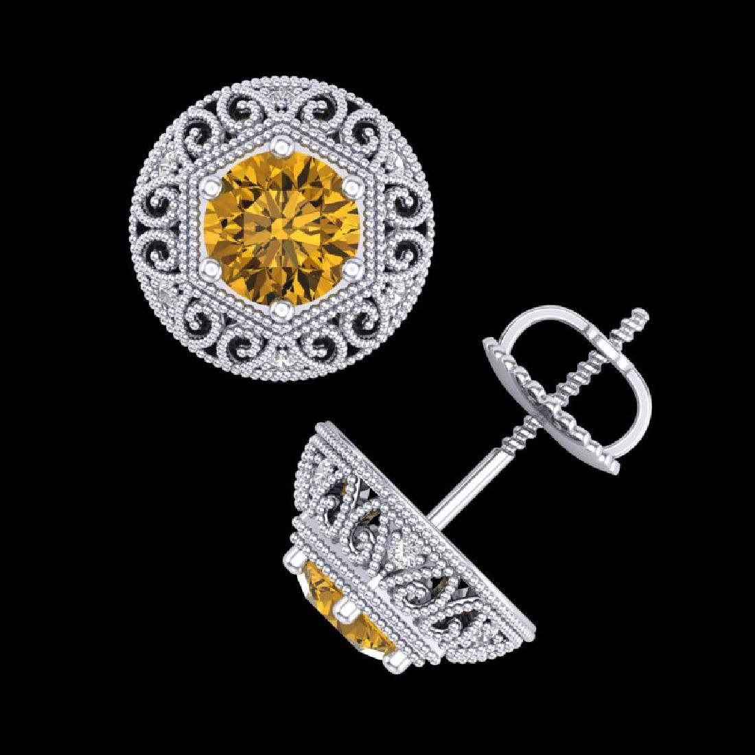 1.31 CTW Intense Fancy Yellow Diamond Art Deco Stud - 3