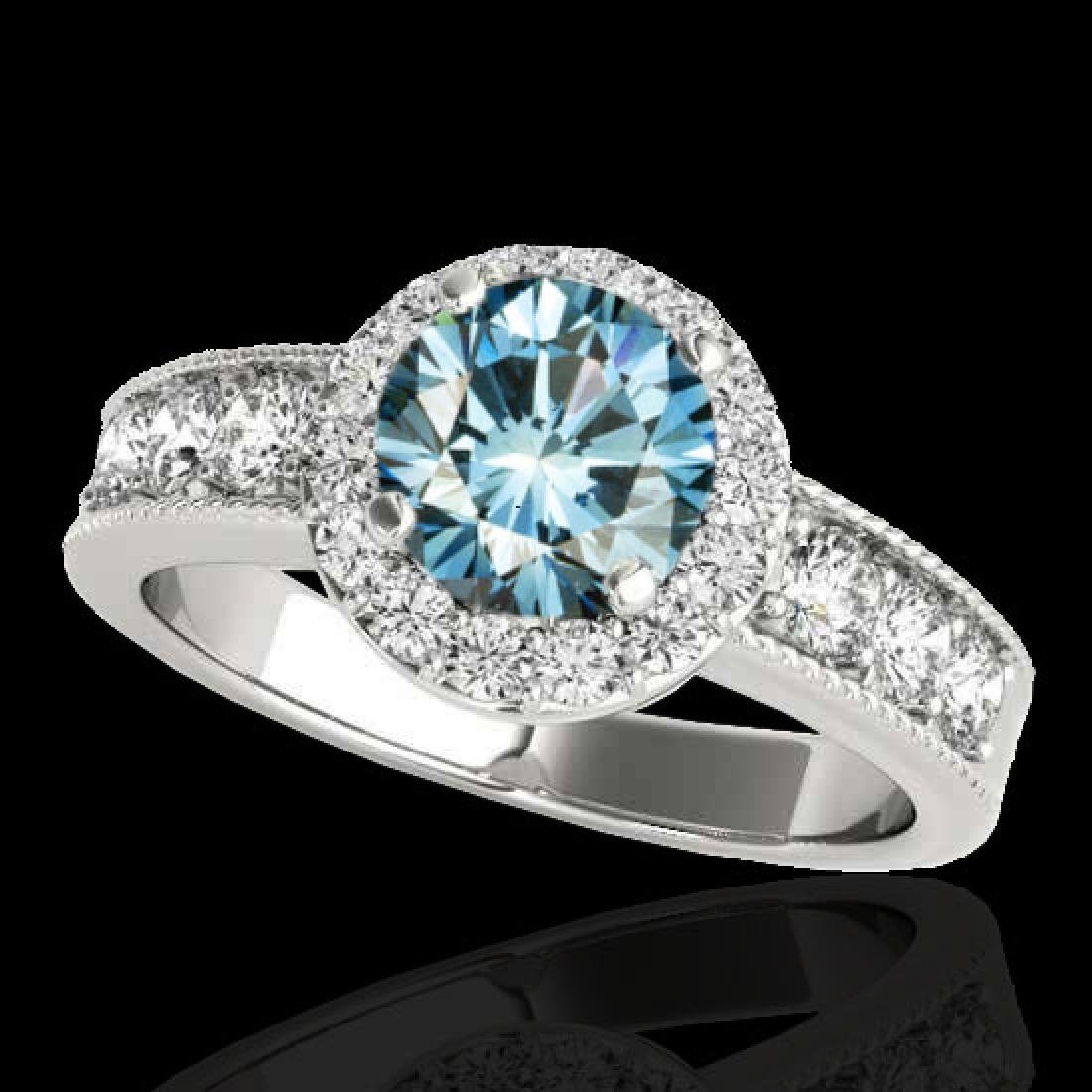 2.1 CTW SI Certified Fancy Blue Diamond Solitaire Halo