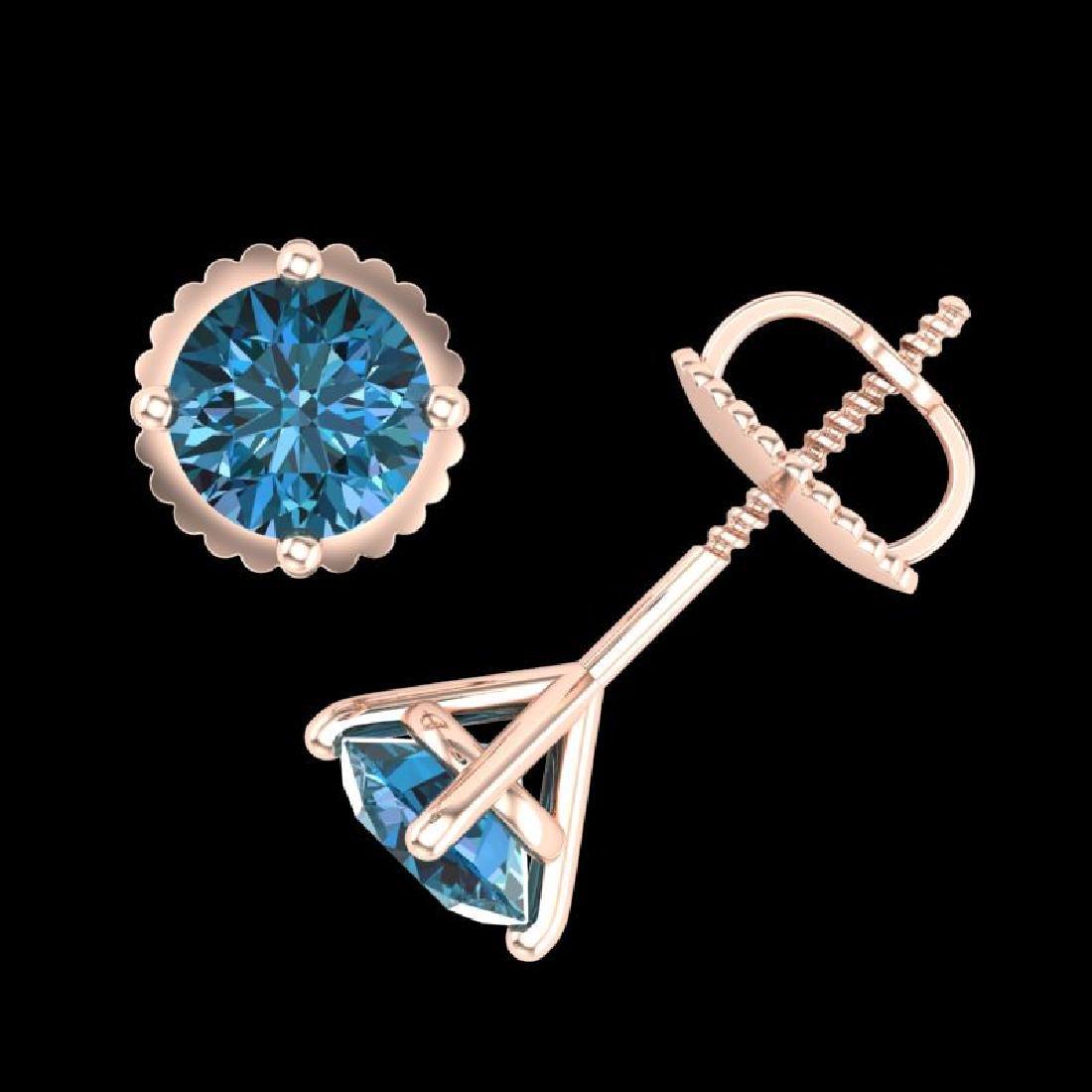 1.01 CTW Fancy Intense Blue Diamond Art Deco Stud - 3
