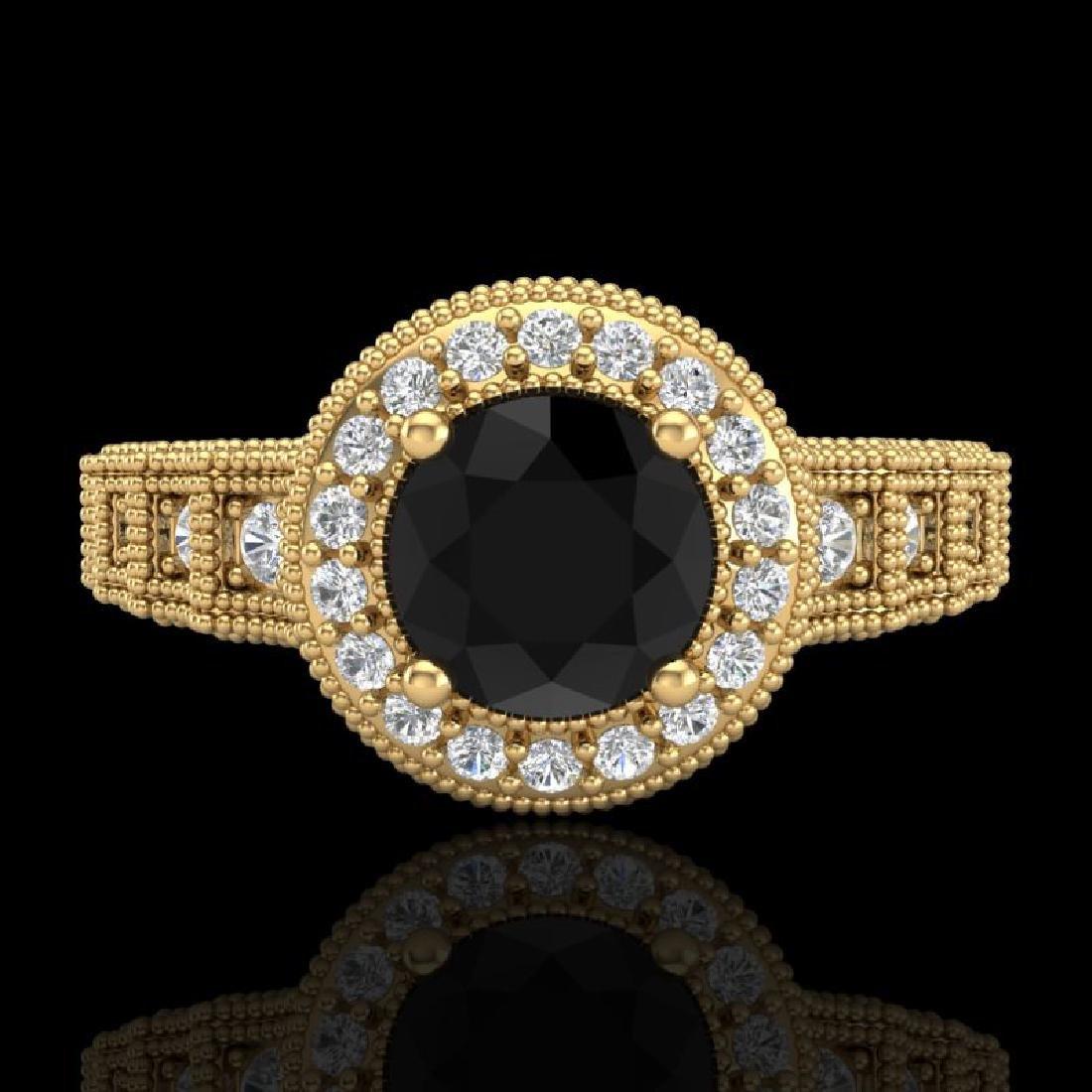 1.53 CTW Fancy Black Diamond Solitaire Engagement Art - 2