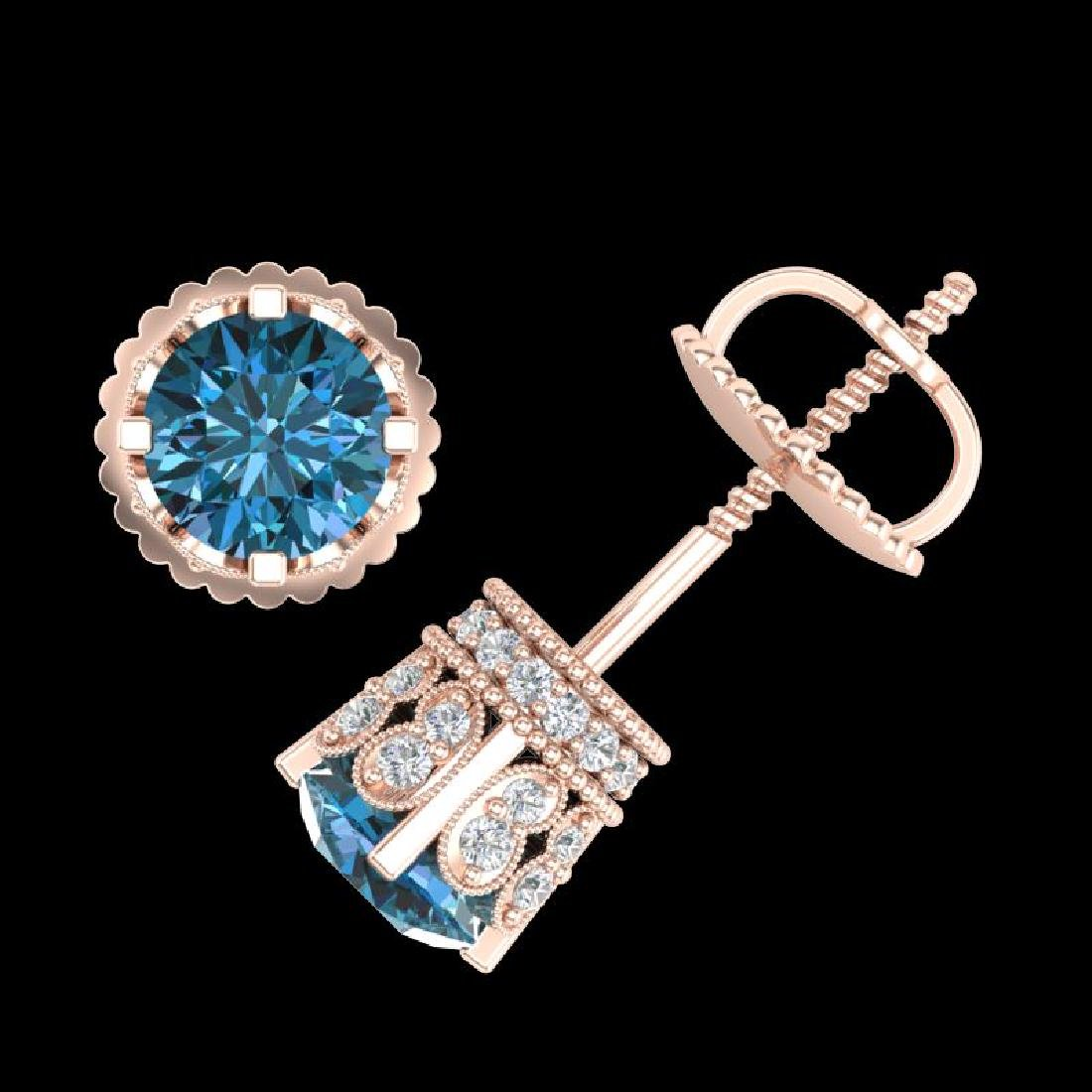 1.75 CTW Fancy Intense Blue Diamond Art Deco Stud - 3
