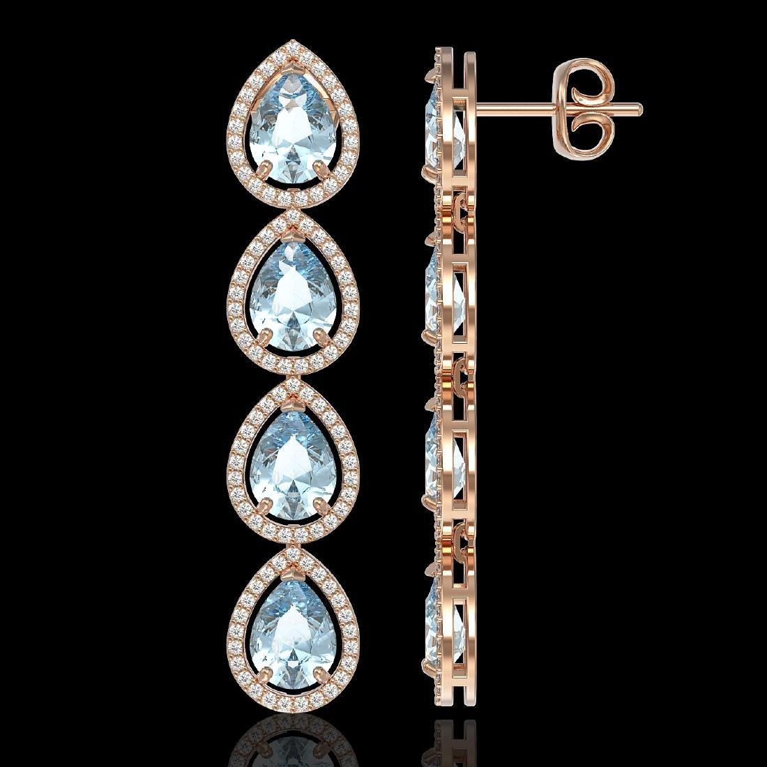 10.4 CTW Sky Topaz & Diamond Halo Earrings 10K Rose - 2