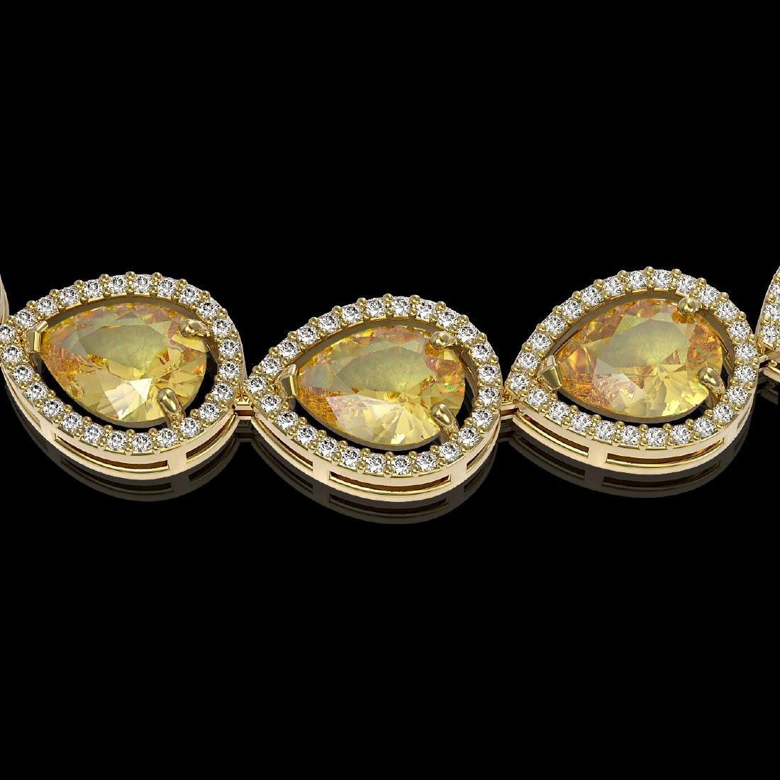 36.8 CTW Fancy Citrine & Diamond Halo Necklace 10K - 3
