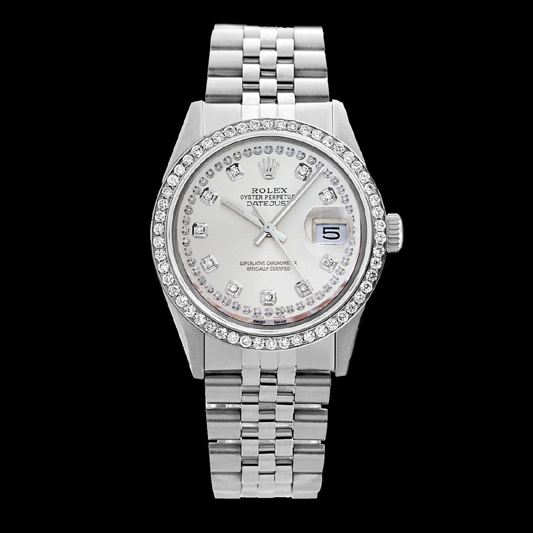 Rolex Men's Stainless Steel, QuickSet, Diamond Dial & - 2