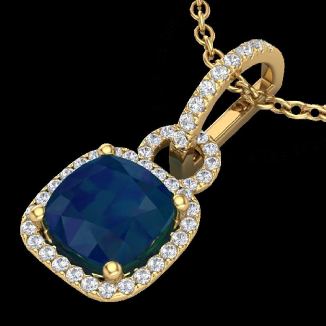 3 CTW Sapphire & Micro VS/SI Diamond Necklace 18K