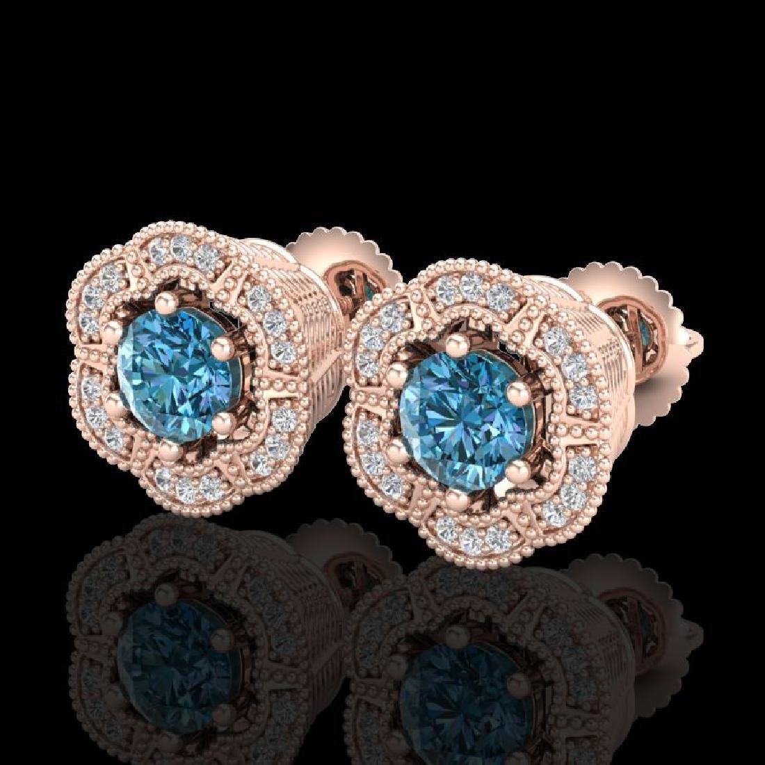 1.51 CTW Fancy Intense Blue Diamond Art Deco Stud