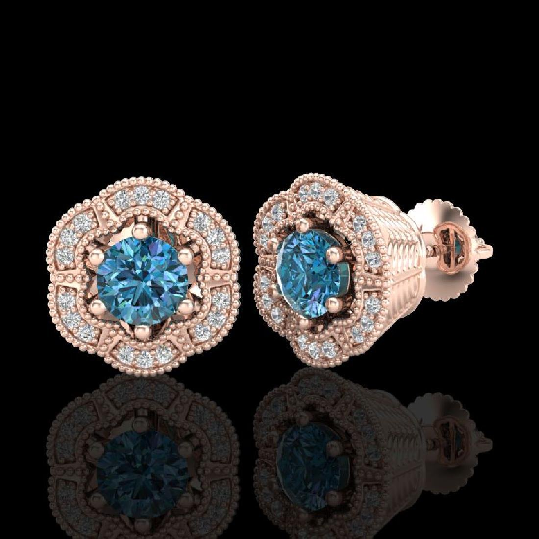 1.51 CTW Fancy Intense Blue Diamond Art Deco Stud - 2