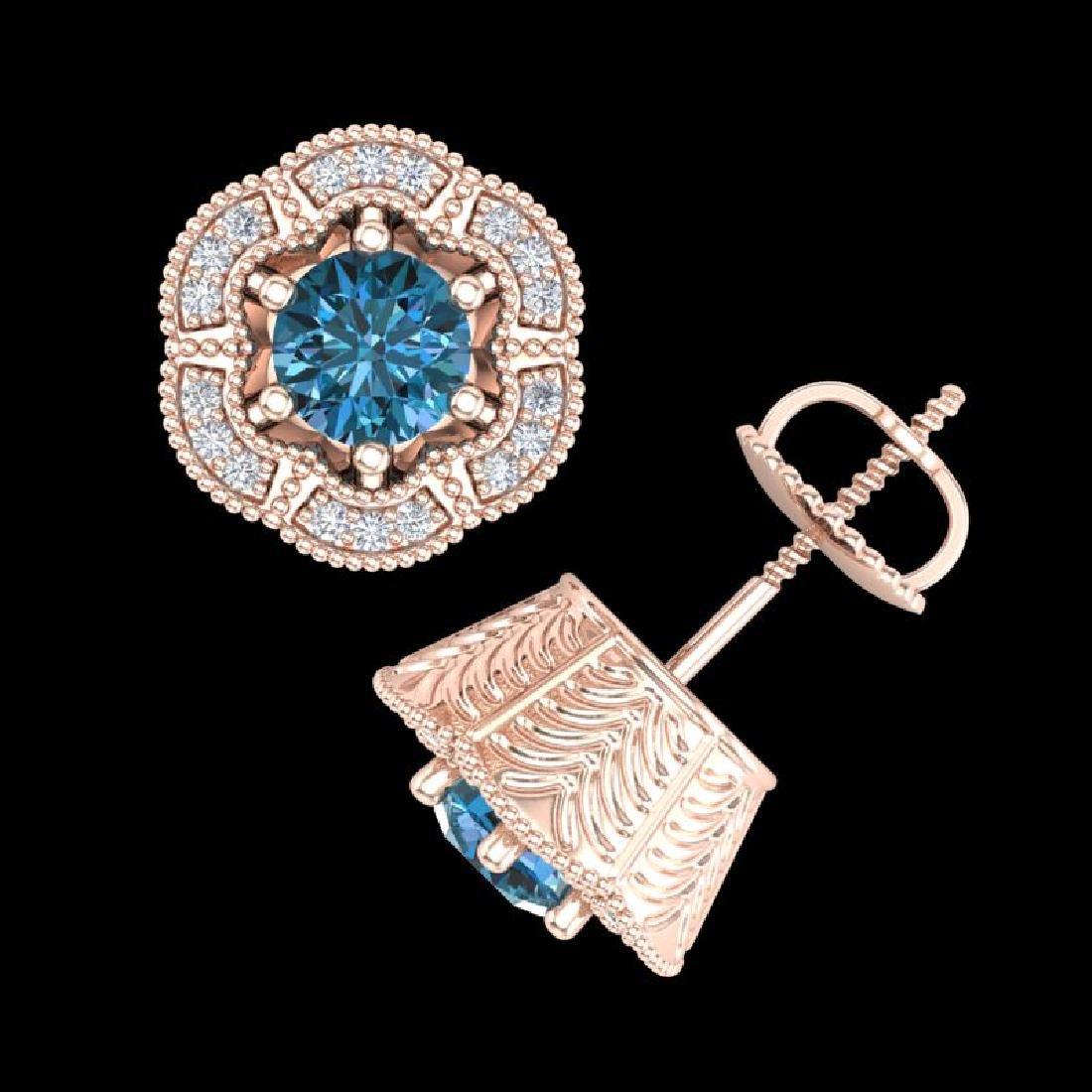 1.51 CTW Fancy Intense Blue Diamond Art Deco Stud - 3