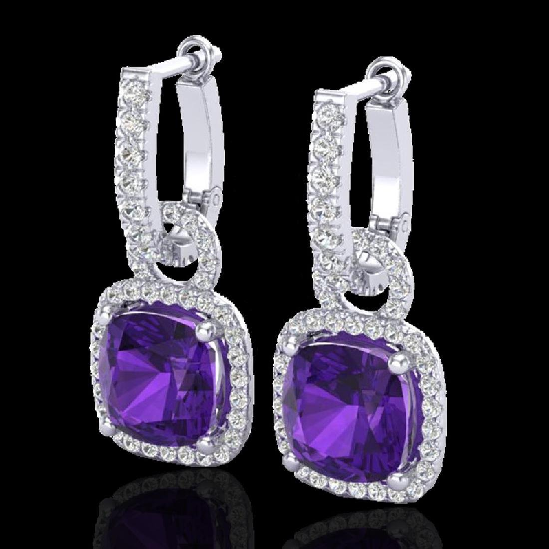 7 CTW Amethyst & Micro Pave VS/SI Diamond Earrings 18K