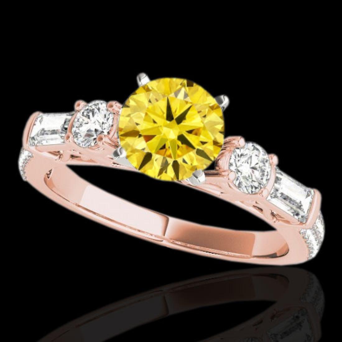 2 CTW Certified SI/I Fancy Intense Yellow Diamond Pave