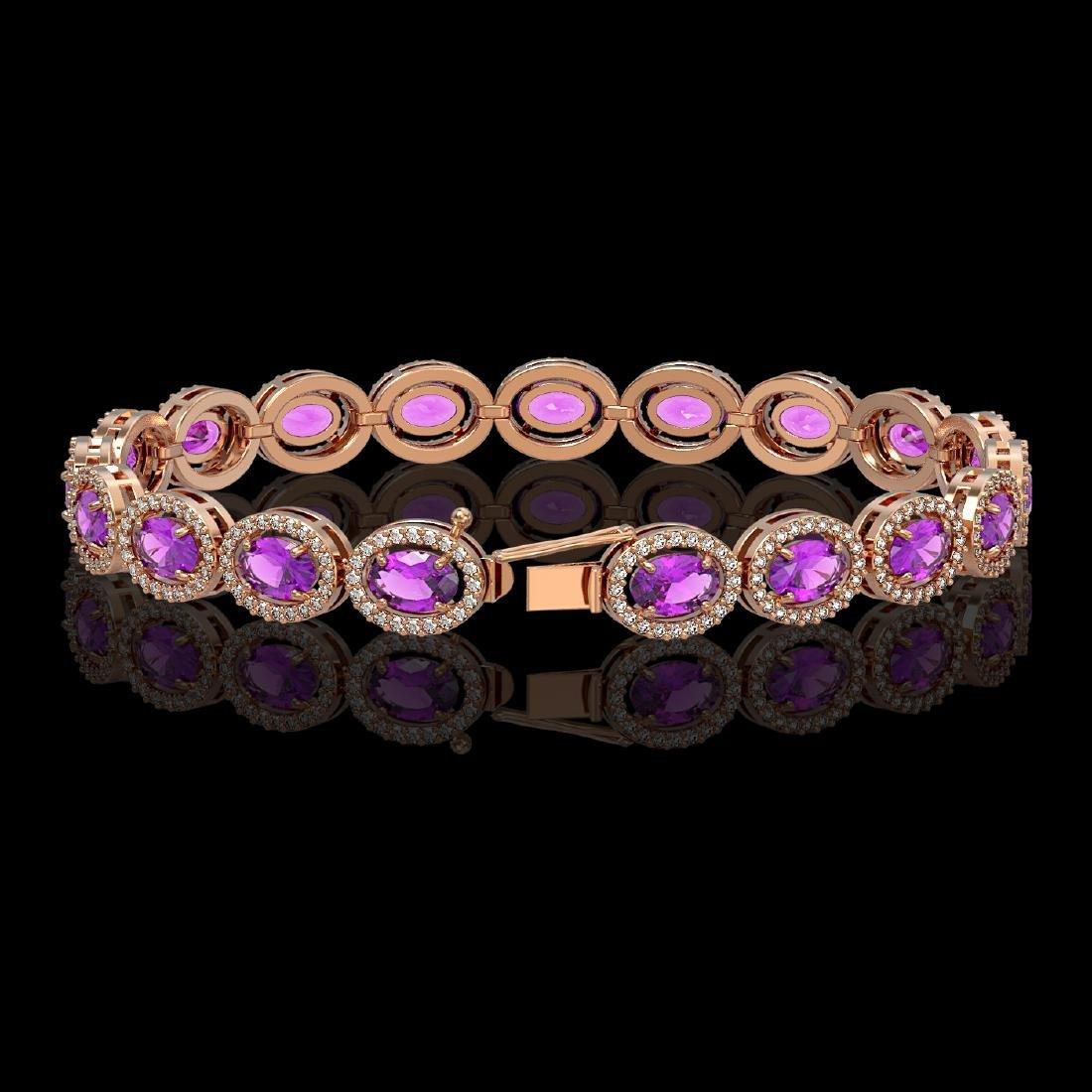 13.11 CTW Amethyst & Diamond Halo Bracelet 10K Rose - 2