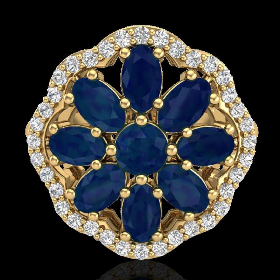 4 CTW Sapphire & VS/SI Diamond Cluster Designer Halo - 2