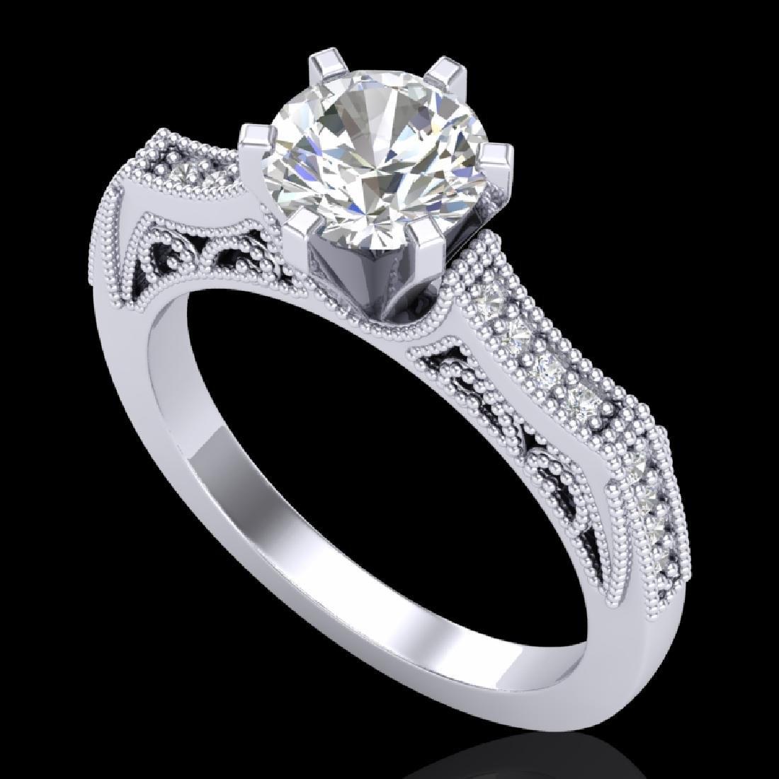 1.25 CTW VS/SI Diamond Solitaire Art Deco Ring 18K