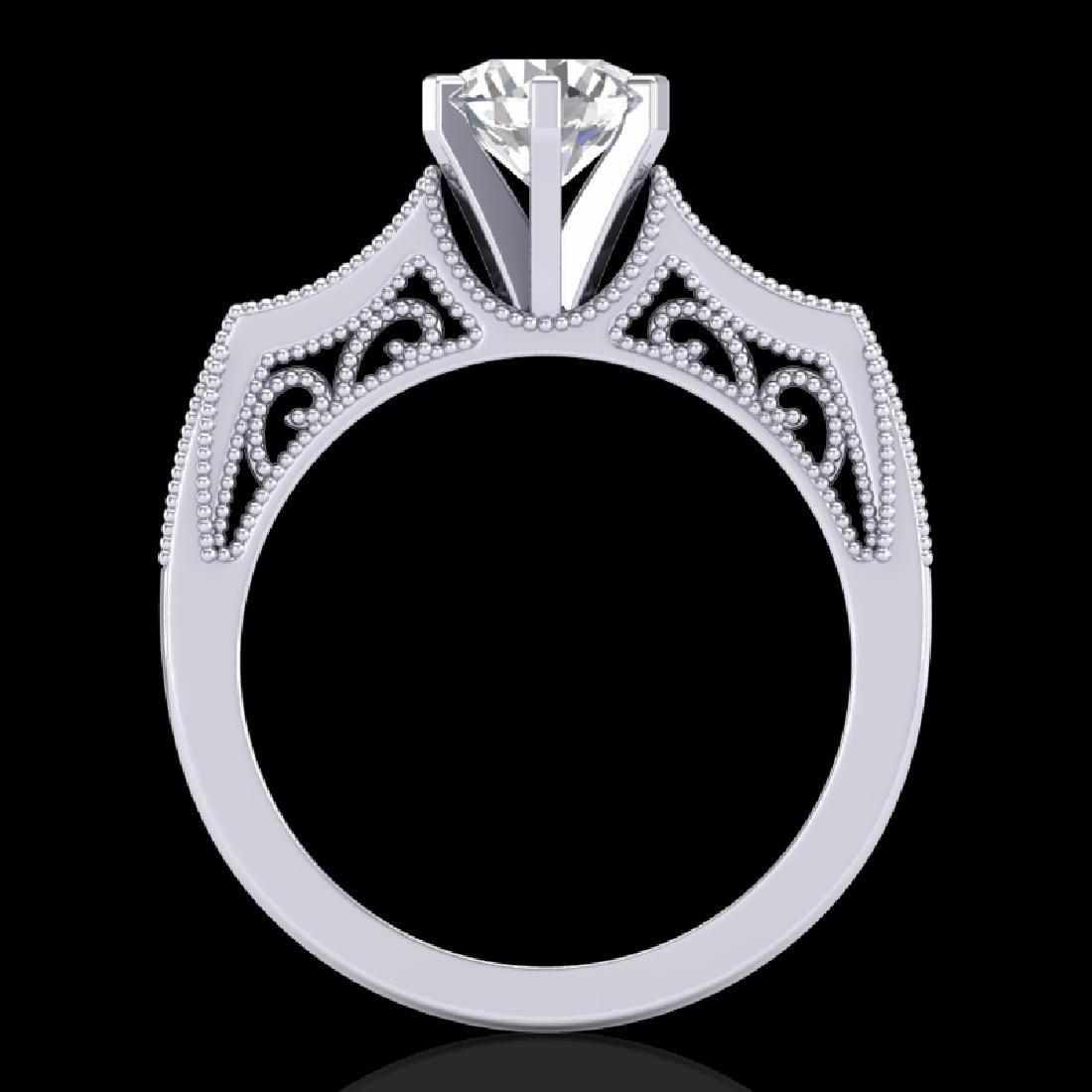 1.25 CTW VS/SI Diamond Solitaire Art Deco Ring 18K - 2